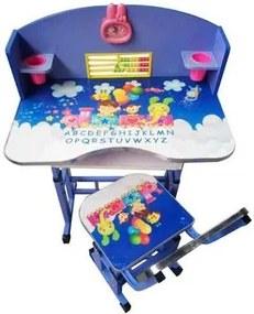 Birou cu scaunel pentru copii, inaltime reglabila , Albastru KT0539
