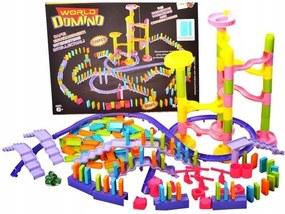 Set constructie Domino, 228 elemente, cu tobogane, piste si obstacole, multicolor