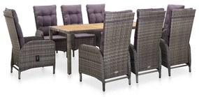 46218 vidaXL Set mobilier de exterior, 9 piese, gri, poliratan, lemn acacia