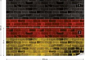 Fototapet GLIX - German Flag Brick Wall 2 + adeziv GRATUIT Papírová tapeta  - 254x184 cm