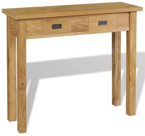 244481 vidaXL Masă consolă din lemn masiv de tec, 90 x 30 x 80 cm