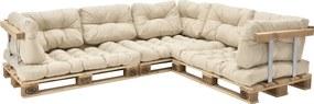 [en.casa]® Garnitura coltar, completa mobilier paleti Model E - 3 x europalet, 3 x perna sezut, 8 x perne spate, 3 x suport spate, 3 x suporti brate - bej