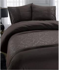 Lenjerie din micropercal Fancy Embroidery Brussel, 140 x 220 cm, gri