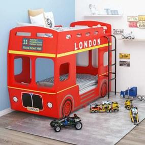 323152 vidaXL Pat supraetajat, autobuz londonez, roșu, 90 x 200 cm, MDF