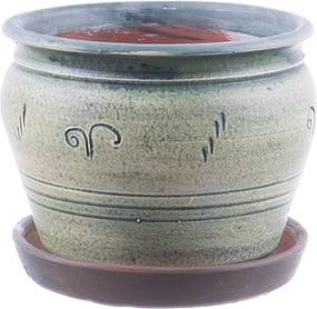 Ghiveci din ceramică cu farfurie diverse culori