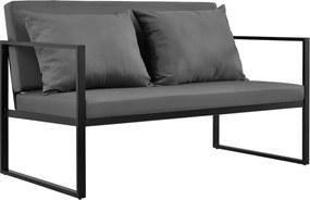 [casa.pro]® Canapea exterior, 70 x 114 x 60 cm, metal/poliester, negru/gri inchis