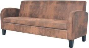 Canapea cu 3 locuri, piele artificială de căprioară, maro