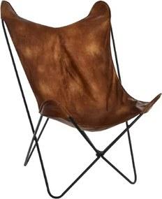 Fotoliu Boho Brown din piele ecologica 74x100 cm