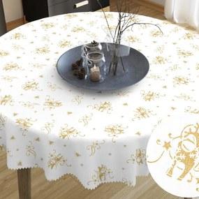 Goldea față de masă din teflon - model 417 de crăciun - reni aurii pe alb - rotundă Ø 60 cm