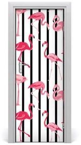 Autocolante pentru usi Flamingos și dungi