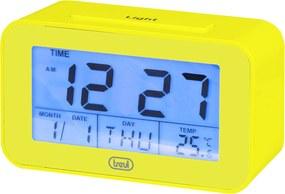 Ceas desteptator cu LCD SLD 3P50, termometru, calendar, galben, Trevi