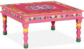 244837 vidaXL Măsuță de cafea din lemn masiv de mango, roz, pictată manual