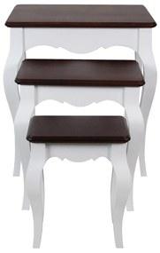 Set 3 masute Mavis din lemn alb cu maro