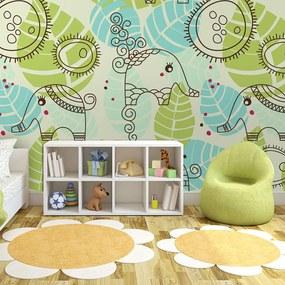 Fototapet Bimago - Elephants (For Children) + Adeziv gratuit 400x309 cm
