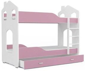 Expedo Pat supraetajat copii PATRIK 2 Domek + saltea + somieră GRATIS, 180x80, alb/roz