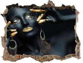 Fototapet 3D gaură în perete Femeia în negru