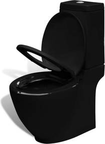 Vas toaletă cu montare pe perete, ceramică, negru