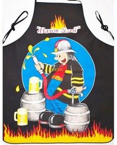 Șorț de bucătărie - pompier negru