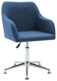 283473 vidaXL Scaun de sufragerie pivotant, albastru, material textil