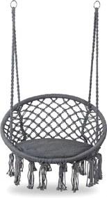 Leagan balansoar suspendat rotund, pentru casa sau gradina, cu perna inclusa, 150kg, gri