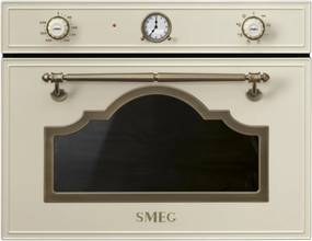Cuptor incorporabil compact cu microunde si grill Smeg Cortina SF4750MPO, crem cu estetica alama