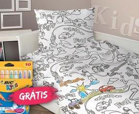 Lenjerie de pat pentru baieti Pictura alb 140x200 cm
