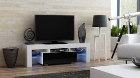 Mazzoni Masă RTV MILANO 130 + LED alb/negru, cu sertar