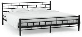 246732 vidaXL Cadru de pat metalic, bază șipci, 140 x 200 cm, design bloc