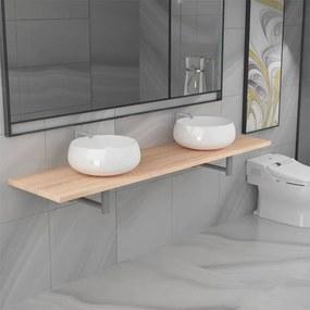 279389 vidaXL Set mobilier de baie din trei piese, stejar, ceramică