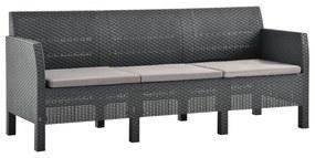 3067232 vidaXL Canapea de grădină cu 3 locuri, perne antracit, PP