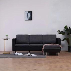 282205 vidaXL Canapea cu 3 locuri cu perne, negru, piele ecologică