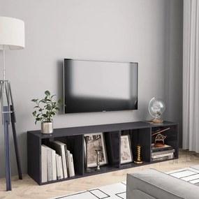 800269 vidaXL Bibliotecă/Comodă TV, gri extralucios, 143 x 30 x 36 cm