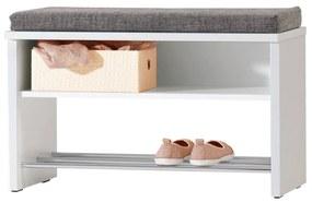 Taburet pantofar alb, PAL, 65x35x45 cm