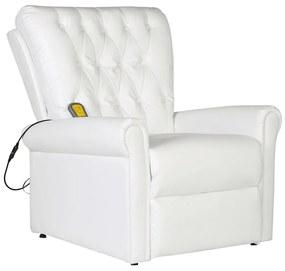 241671 vidaXL Fotoliu de masaj, alb, piele ecologică