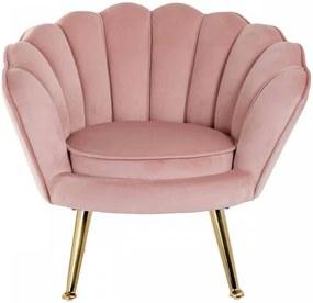 Scaun scoica cu picioare aurii Charly Pink velvet/auriu