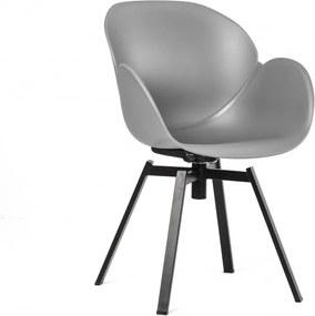 Scaun dining rotativ gri din otel si polipropilena Malmo Grey Malo Design
