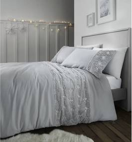 Lenjerie de pat din fleece Catherine Lansfield Snowflake, 200 x 200 cm, gri