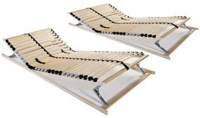 3051429 vidaXL Baze de pat cu șipci, 2 buc., 90 x 200 cm, 7 zone, 28 șipci