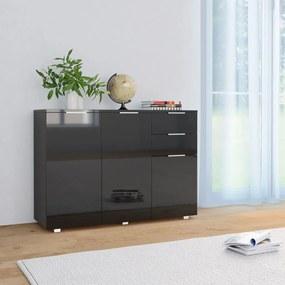 283719 vidaXL Servantă, negru foarte lucios, 107 x 35 x 76 cm