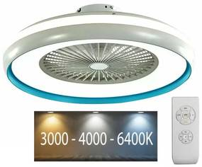 Plafonieră LED cu ventilator LED/45W/230V 3000/4000/6500K albastră