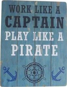 Decoratiune de perete Play like a Pirate, Lemn, 45x35 cm