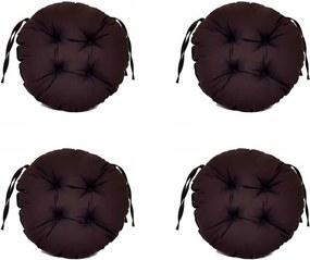 Set Perne decorative rotunde, pentru scaun de bucatarie sau terasa, diametrul 35cm, culoare negru, 4 buc/set