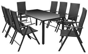 Set mobilier de grădină, 9 piese, aluminiu și poliratan