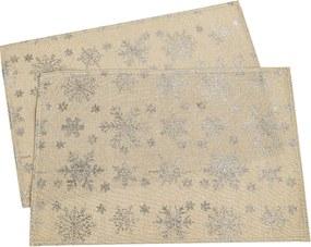 Napron de Crăciun Fulg de zăpadă, auriu, 32 x 45 cm, set 2 buc.