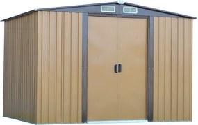 Căsuţă pentru grădină din tablă pentru scule, maro deschis / maro închis, 2,6x2m, HAMAL TYPE 2