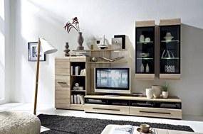 Mobilier FEVER SONOMA Set living 6 piese Stejar sonoma- insertie negru, 50 cm, 280 cm, cm, Set living 6 piese