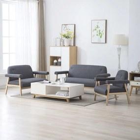 275212 vidaXL Set canapele de 6 persoane, 3 piese, gri închis, țesătură
