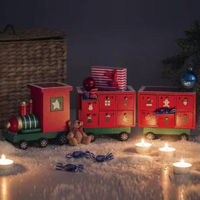 Trenuleţ din lemn - calendar de Crăciun