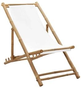 41491 vidaXL Scaun din lemn de bambus și pânză