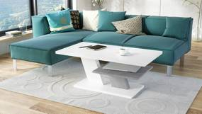 CLIFF MAT alb + beton, masă de cafea